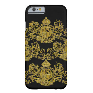 Gold Black Dieu et Mon Droit British Coat of Arms Barely There iPhone 6 Case