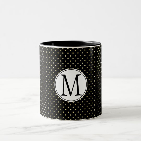 Gold Black Dots Monogram Two-Tone Coffee Mug