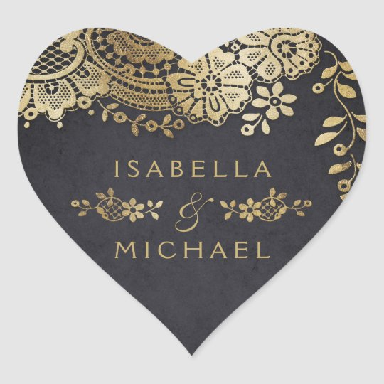 Gold black elegant vintage lace wedding favour heart