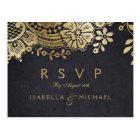 Gold black elegant vintage lace wedding RSVP Postcard
