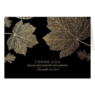 Gold Black Fall Leaves Wedding Thank You Card