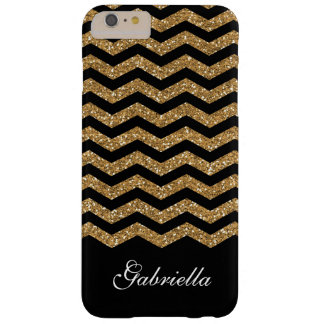Gold Black Faux Glitter Chevron Barely There iPhone 6 Plus Case