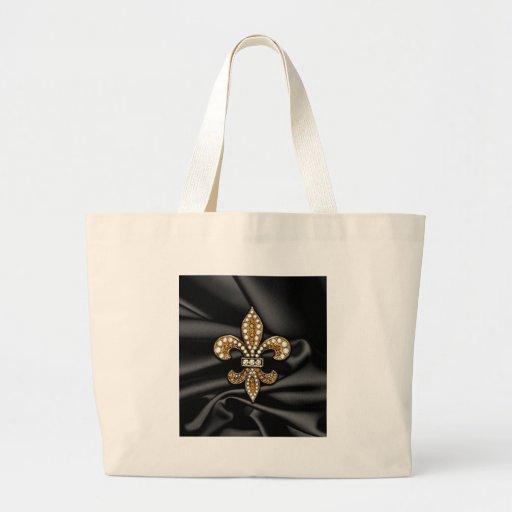 Gold Black Fleur De Lis Satin Jewel Tote Bag