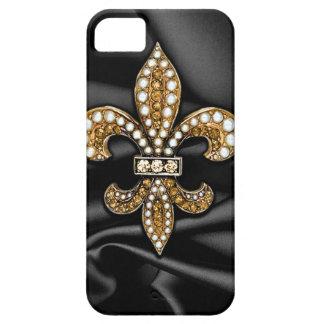 Gold Black Fleur De Lis Satin Jewel Case For The iPhone 5