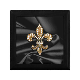 Gold Black Fleur De Lis Satin Jewel Gift Box