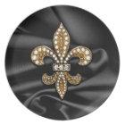Gold Black Fleur De Lis Satin Jewel Plate