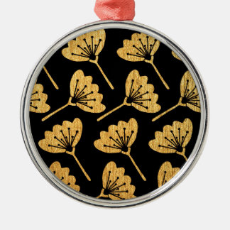 Gold & Black Floral Christmas Ornament