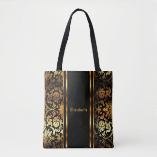 Gold & Black Floral Damask Design Tote Bag