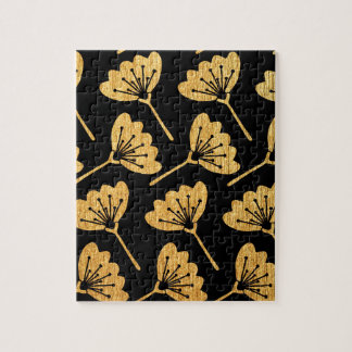 Gold & Black Floral Jigsaw Puzzle
