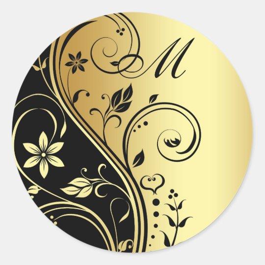 Gold & Black Floral Monogram Wedding Sticker