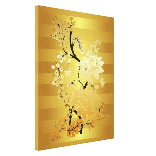 Gold & Black Floral Oriental style Wrapped Canvas