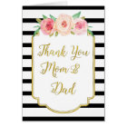 Gold Black Floral Parents Wedding Day Thank You Card