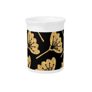 Gold & Black Floral Pitcher
