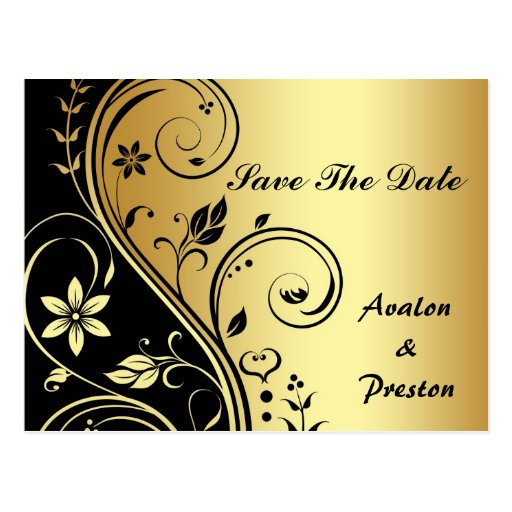 Gold & Black Floral Scroll Save The Date Postcard