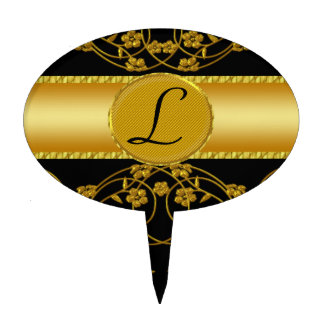 Gold & Black Floral Wedding Monogram Cake Pick