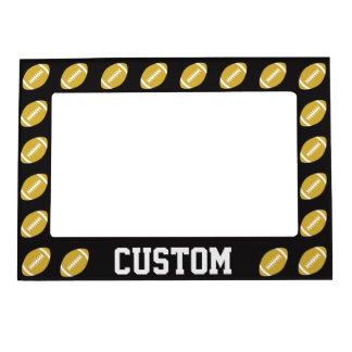 Gold & Black Football Custom Team or Player Name Magnetic Frame