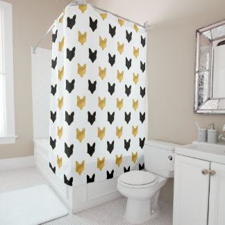 Gold Black Foxes Shower Curtain