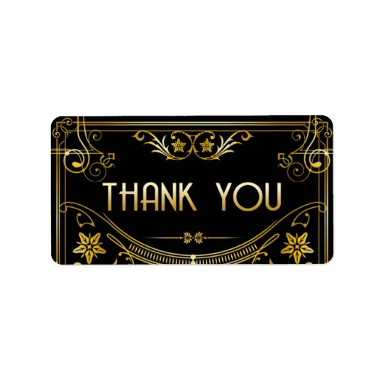 Gold & Black Gatsby Art Deco Thank You Sticker