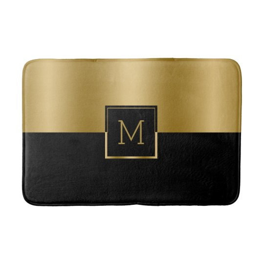 Gold & Black Geometric Design Monogram Bath Mats