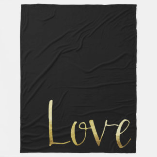 Gold Black Glam Love Fleece Blanket