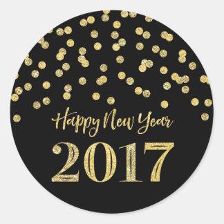 Gold Black Glitter Confetti Happy New Year 2017 Round Sticker