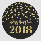 Gold Black Glitter Confetti Happy New Year 2018 Classic Round Sticker