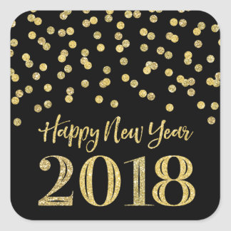 Gold Black Glitter Confetti Happy New Year 2018 Square Sticker