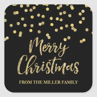 Gold Black Glitter Confetti Merry Christmas Custom Square Sticker
