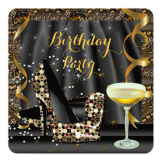 Gold Black Glitter High Heels Champagne Party 13 Cm X 13 Cm Square Invitation Card