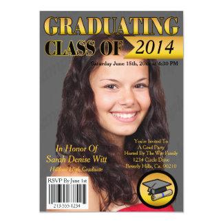 Gold & Black Graduating Class Magazine Cover 13 Cm X 18 Cm Invitation Card