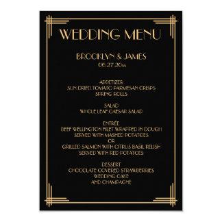 Gold Black Great Gatsby Art Deco Wedding Menu Card