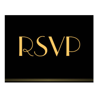 Gold Black Great Gatsby Wedding RSVP Postcards