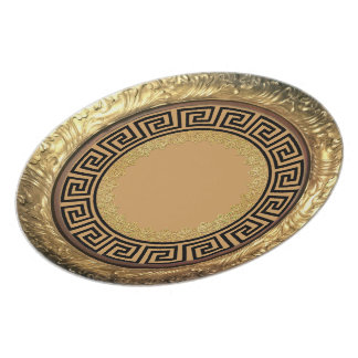 Gold & Black Greek Design Plate