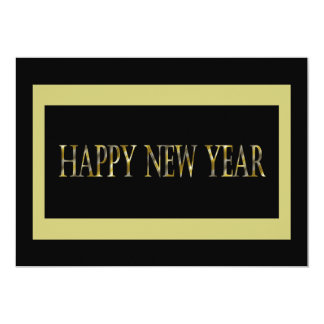 gold black happy new year 13 cm x 18 cm invitation card