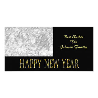 gold black happy new year customised photo card