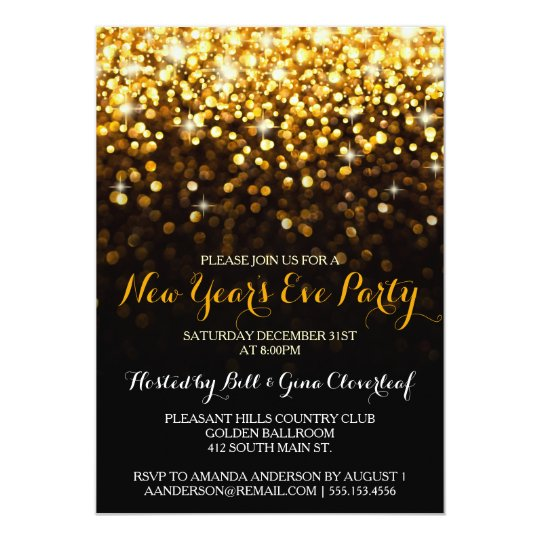 Gold Black Hollywood Glam New Year's Eve Party