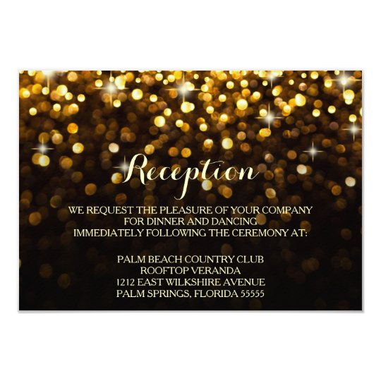 Gold Black Hollywood Glitz Glam Reception Card