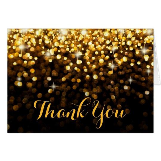 Gold Black Hollywood Glitz Glam Thank You Card