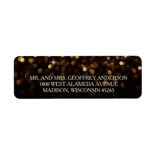 Gold Black Hollywood Glitz Glam Wedding Label Return Address Label