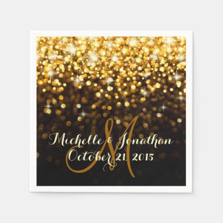 Gold Black Hollywood Glitz Glam Wedding Napkin Paper Napkin