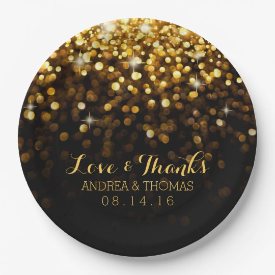 Gold Black Hollywood Glitz Glam Wedding Plates