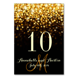 Gold Black Hollywood Glitz Glam Wedding Table Card