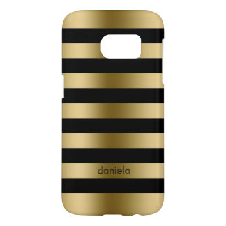 Gold & Black Horizontal Stripes Pattern