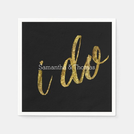 Gold Black I Do Disposable Serviettes