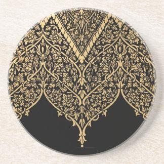 Gold Black Indian Motif Vintage Design Pattern Coaster