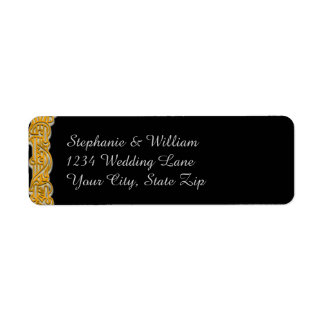 Gold & Black Irish Wedding Return Address Label