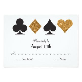 Gold Black Las Vegas Wedding Reply Faux Glitter Card