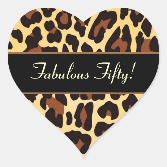 Gold Black Leopard Fabulous 50 Birthday Heart Sticker