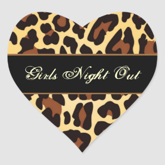 Gold Black Leopard Girls Night Out Party Heart Sticker
