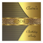 Gold Black Leopard Invite 50th Birthday Party
